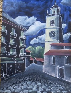 Northern Italy, Sara Becker, gouache on paper.