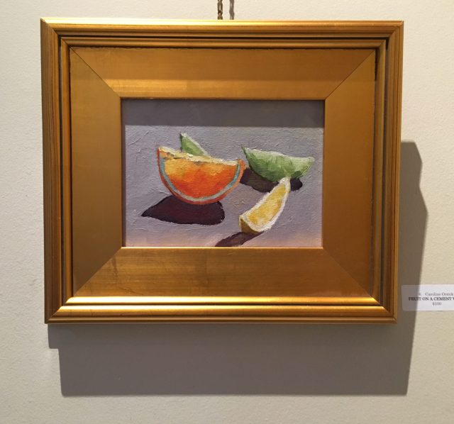Fruit on a Cement Wall. Oil. Caroline Orrick